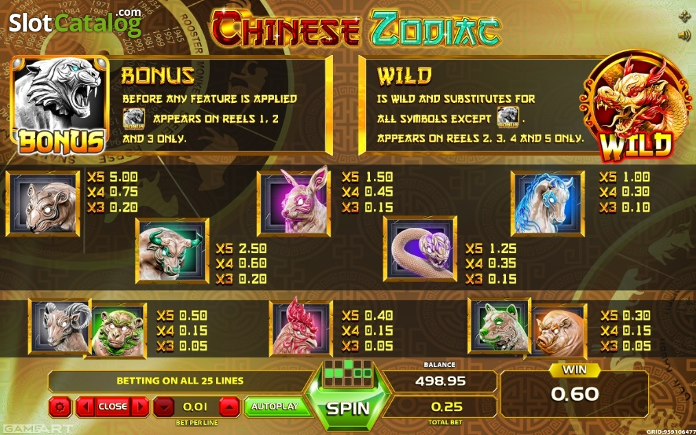 Chinese Zodiac slot game